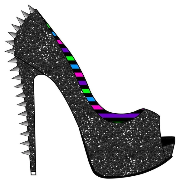 Too Fast Shoes - Too Fast Black Glitter Spike Heel Rockabilly Pinup
